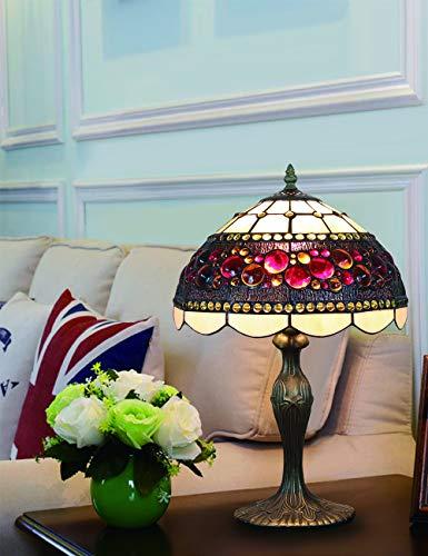 Lámpara de sobremesa estilo lámpara de mesa, lámpara de mesa, de estilo vitral, estilo vintage, 12 pulgadas