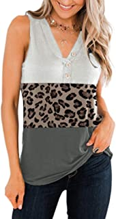 Imily Bela V Neck Tank Top Leopard Print Color Block Summer Casual Henley Sleeveless T Shirt