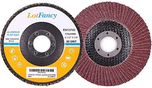 LotFancy Disco Abrasivo Profesionales, 10 Piezas Ø 115mm Grano 80, Disco de Láminas Rectificación, Abrasivo de óxido de Aluminio