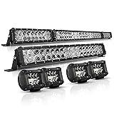 LED Light Bar Kit Autofeel 52 Inch + 22 Inch + 4PCS 4Inch 32000LM 6000K Light Bars Flood Spot Beam Combo for Truck SUV ATV UTV Boat