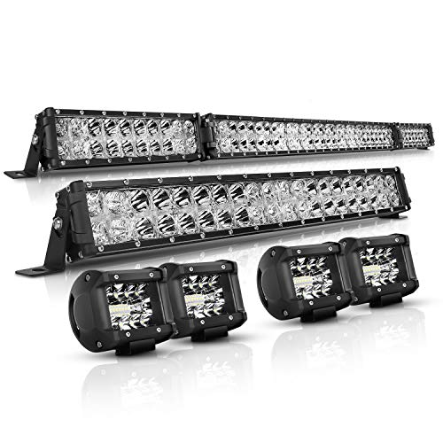 LED Light Bar Kit Autofeel 52 Inch + 22 Inch + 4PCS 4Inch 32000LM 6000K Light Bars Flood Spot Beam Combo for Truck SUV ATV UTV Boat