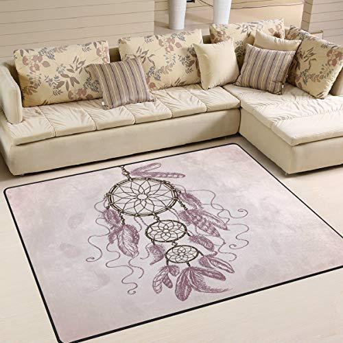 Mnsruu Tapis attrape-rêves ethnique tribal aztèque rose pour salon chambre à coucher 2,1 x 1,5 m