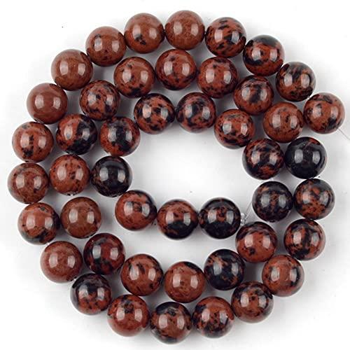 YELVQI Quaste Naturstein Mahagoni Jaspers Perlen runde lose Spacer perlen für schmuck herstellung DIY Armband Halskette zubehör 4 6 8 10 12mm (Color : 12mm About 30pcs)