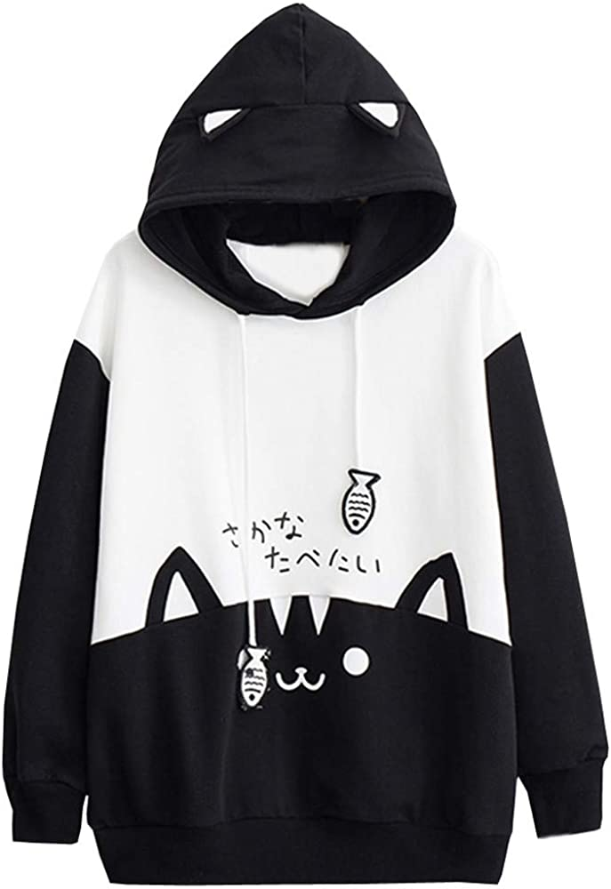 Hoodies for Women Pullover Graphic Funny, Cute Hoodie Sweatshirts Cats Splice Long Sleeve Drawstring Tops Blouses
