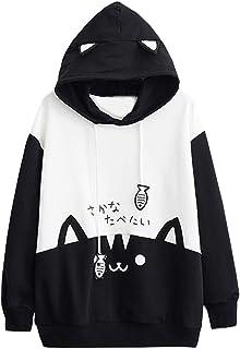 Womens Japanese Kawaii Style Kitty Cat Print Pocket Long Sleeve Thin Hoodie Tops