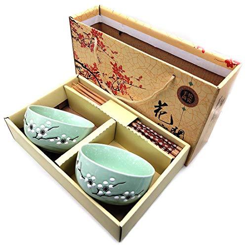 Juego de cuencos de porcelana de estilo chino japonés, juego de 2 cuencos con 2 pares de palillos para sushi, fideos, vajilla