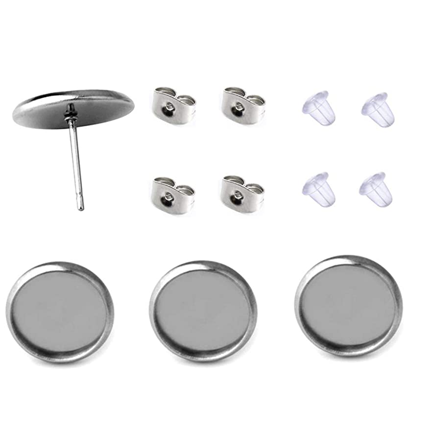 40 Pcs Stainless Steel Stud Earring Cabochon Setting Post Cup Fit for 12mm,80 Pcs Earring Backs (fit for 8mm)