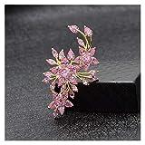 Zxebhsm Spilla Spille dei Fiori di Zirconia cubica per Le Donne Elegante Pin di Lusso di Lusso Pin Autunno di Alta qualità 3 Colori (Metallfarbe : Pink)