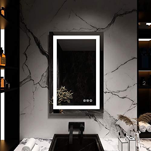 Espejo de baño regulable con iluminación LED, 50 x 70 cm, espejo de pared, interruptor táctil, calefacción de espejo antivaho, CRI  90+, instalación vertical y horizontal