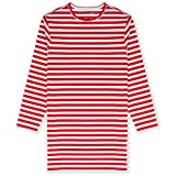 JIAHONG Kids Girls Cotton Elastane Long Sleeve Nightgown Solid and Stripe Color Sleep Shirt 3-12 Years (XL-red Stripe