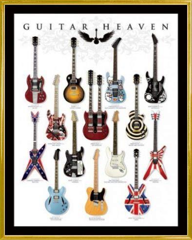1art1 Chitarre Mini Poster e Cornice (Plastica) - Guitar Heaven, Rock Hall of Fame (50 x 40cm)