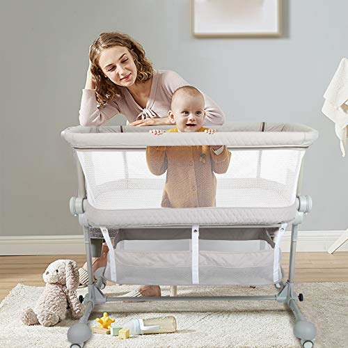 HAHASOLE Bedside Sleeper Baby Bed Cribs, Bassinets for Newborn,...