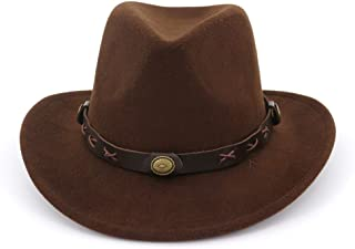 Men&Women's Woolen Wide Brim Fedora Hat Classic Jazz Cap with Leather Belt Buckle Decoration