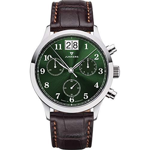 Junkers Tante JU Analog Quarz Uhr Lederarmband Saphirglas grün 9.23.01.06