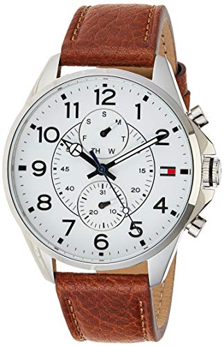Tommy Hilfiger Herren Analog Quarz Uhr mit Leder Armband 1791274