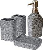 your castle Set de 4 accessoires de salle de bain en céramique - Aspect ciment - Distribu...