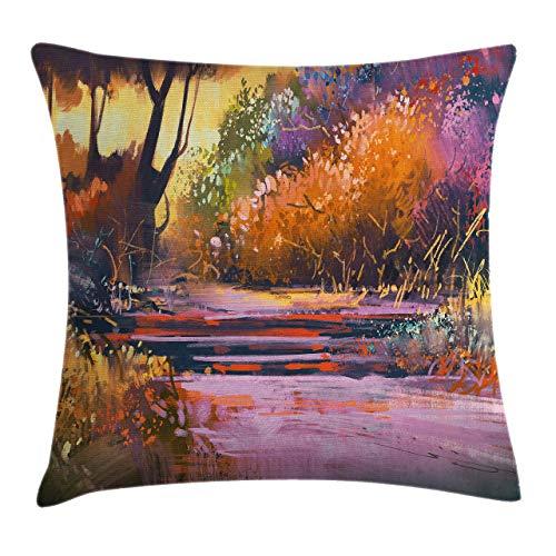 Nature Throw Pillow Cojín, bosque encantado con flores vívidas, árboles del lago, estampado de pintura de temporada de primavera, funda de almohada decorativa con acento cuadrado, marrón jengibre fucs