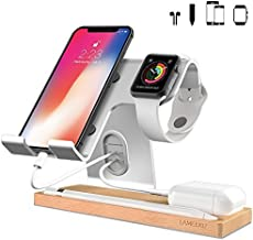 LAMEEKU Cell Phone Stand Compatible with iPhone and Android, Desktop Stand Holder Dock for iPad 2017 Pro 9.7, 10.5, Air Mini 2 3 4, Tablets, iPhone, Android Smartphone, Apple Watch 38mm 42mm- Silver