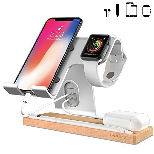 LAMEEKU Cell Phone Stand Compatible with iPhone and Android, Desktop Stand Holder Dock for iPad