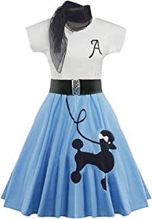 Retro Poodle Print High Waist Skater Vintage Rockabilly Swing Tee Cocktail Dress