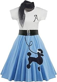 ZEZCLO Retro Poodle Print High Waist Skater Vintage Rockabilly Swing Tee Cocktail Dress