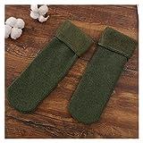 lliang Socke Damen Winter Warme Socken Verdicken Wärmewolle Kaschmir Schnee Wamer Socken Nahtlose Samt Weiche Stiefel Boden Schlafsocken (Color : Green)