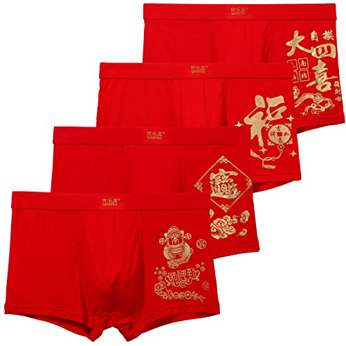 Youlehe Men's Underwear Soft Bamboo Boxer Briefs Stretch Trunks Pack (Large, Lucky Red 02)