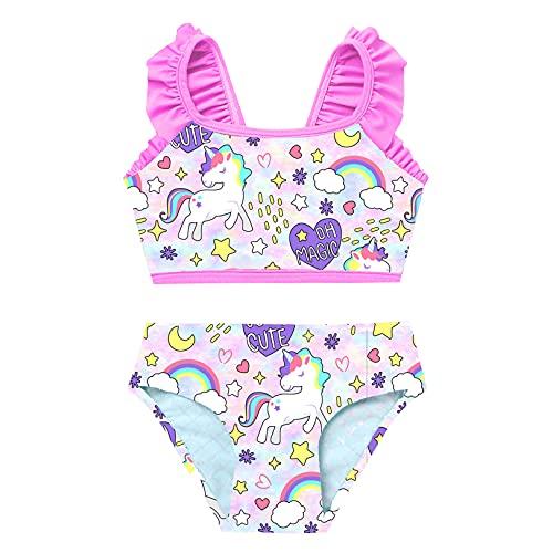 JEATHA Costumi da Bagno Bambina Unicorno Costume da Mare Senza Maniche Sirena Set Bikini Tankini Spiaggia Ragazza Abiti Estivi Piscina Nuoto Canottiera + Ragazze Mutandine Rosa 5-6 Anni
