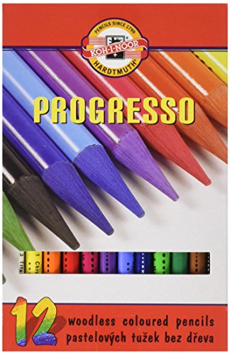 Koh-I-Noor Progresso Woodless Coloured Pencil Set (Set of 12)