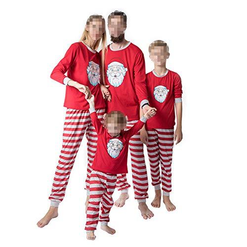 TLLW A juego de pijamas de Navidad de la familia ropa de Navidad casual Santa Pijamas ropa deportiva 2 piezas de hombres mujeres niños ropa de manga larga superior + pantalones conjunto