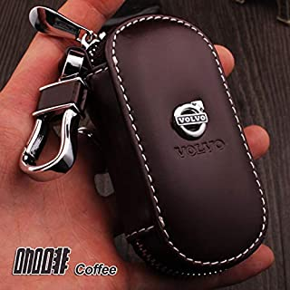 Generic for Volvo XC90 XC60 S60L S80L S40 V40 V60 Genuine Leather Carve Car Key Case Cover Smart Car Key Chain Ring Holder Accessories Color Name Brown
