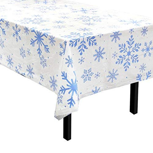 Snowflake White Plastic Tablecloth for Holiday Christmas Party (54 x 108 in, 3 Pack)