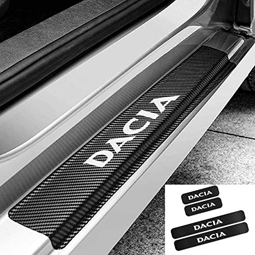 4 Pcs Coche Cuero de Fibra de Carbono Protector Umbral Puerta para Renault Dacia Duster Logan Sandero, Antideslizante AntiarañAzos Sticker Accesorios De DecoracióN