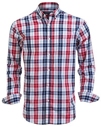 Double Pump Mens Button Down Shirts 100% Cotton Long Sleeve Shirts Regular Fit (SL02A,XXL)