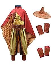 Lito Angels Raya and the Last Dragon Disfraz para niños y niñas disfraz de Halloween para fiesta mono con sombrero de bambú y capa roja multicolor