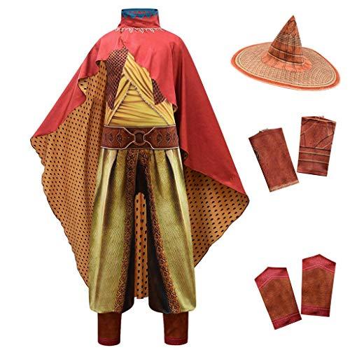 Lito Angels - Costume da Raya e l'ultimo drago per bambine e ragazze, per Halloween, set C (tuta con cappello di bambù e mantello rosso), età 9-10 anni, multicolore 294