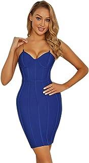 レディースイブニングドレスセクシーチェーンスリングドレス気質スリムドレス レディースクラブ&ナイトアウトドレス (Color : Blue, Size : Medium)...