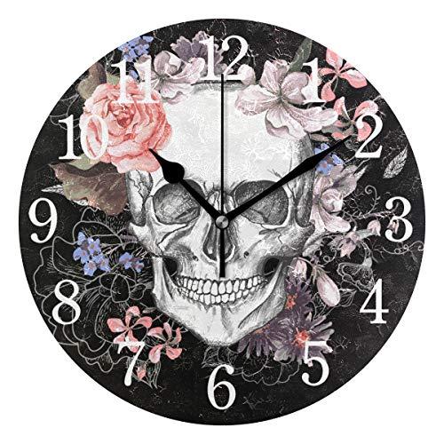 WowPrint Wanduhr, Sugar Skull Day of The Dead Acryl, rund, Nicht tickend, dekorative Kunst Malerei für Büro, Klassenzimmer, Schlafzimmer, Wohnzimmer, Badezimmer, Küche Dekor