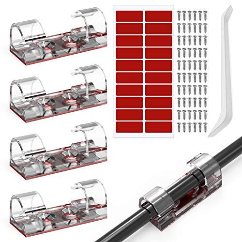 JIRVY 60 Stück Kabelclips Selbstklebend Transparent, Kabelhalterr Kabelmanagemen für Haus Schreibtisch Büro, Auto, PC. Anbringen an Wand oder Schreibtisch