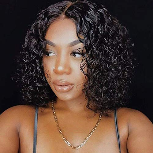 150% Density Curly Human hair Wigs for Black Women Brazilian Human Hair Gluless wig Short Curly Human Hair Wigs for Women Natural Black Wig with Middle Part Lace