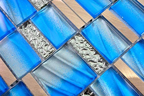 Aluminium Mosaik Glasmosaik ALU blau Wand Fliesenspiegel Küche Dusche Bad MOS88-0004_m
