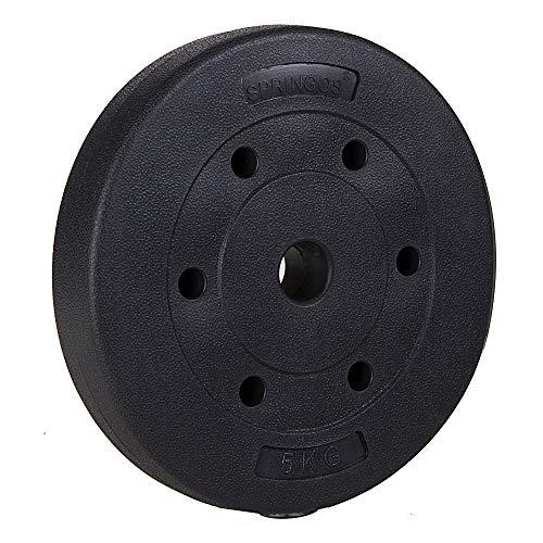 SPRINGOS - Discos para pesas (1 kg, 1,25 kg, 2,5 kg, 5 kg, 10 kg, 15 kg, 20 kg, de plástico, con peso) para acondicionamiento físico, 5 kg.