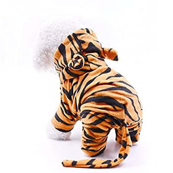 Dr.NONO Tiger Costume - Cosplay Costume for Dogs and Cats - Yellow and Black Velvet Pet Clothes - Warm Apparel Winter Pet Costume - Dog Outfits for Christmas Cosplay and Birthday Parties