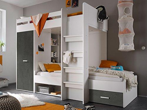 möbelando Etagenbett Kinderbett Hochbett Stockbett Funktionsbett Jugendbett Bett Mimi I Weiß/Betonoxid