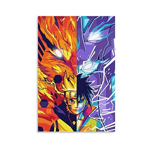 wangzhe Póster de anime de Naruto y Sasuke con pintura decorativa en lienzo para pared o sala de estar, 12 x 18 pulgadas (30 x 45 cm)
