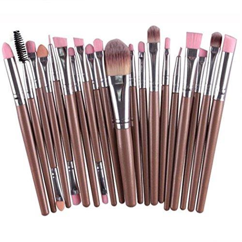 Fulltime® 20 pcs/set maquillage outils de brosse Kit laine pinceau de maquillage (Or)