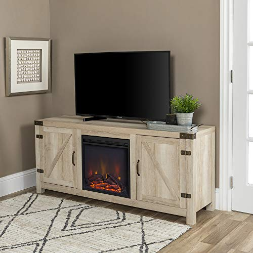 "WE Furniture Farmhouse Barn Door Wood Fireplace Stand for TV's up to 64"" Living Room Storage, 58"", White Oak"