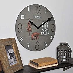 FirsTime & Co. 15.5 Cabin Life Wall Clock, Distressed Brown