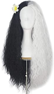 Women Girl's Pretend Hair Wigs Long Fluffy Kinky Straight Wave Ombre Gradient Color Punk Costume Wig (Half black half white)