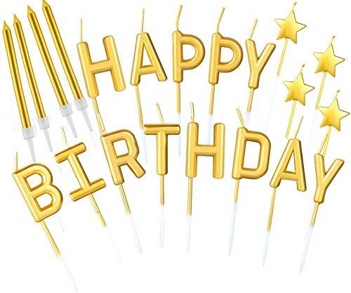 B•You Velas de Cumpleaños,Velas de Tarta de Cumpleaños 21piezas Dorado Happy Birthday Letras Estrella Metálicas Velas Altas Delgadas Doradas en Soporte para Decoración de Pasteles